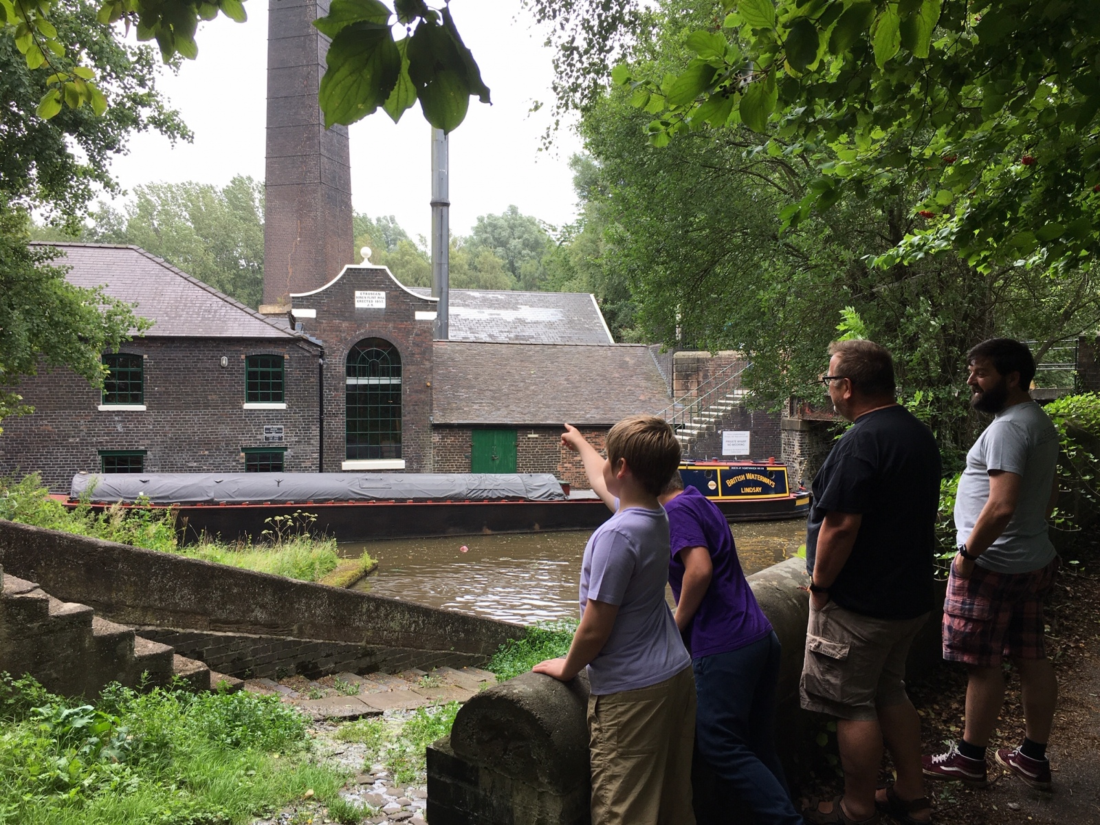 MILL FROM LOCK WALL  WITH INTERESTED YOUNGSTERS