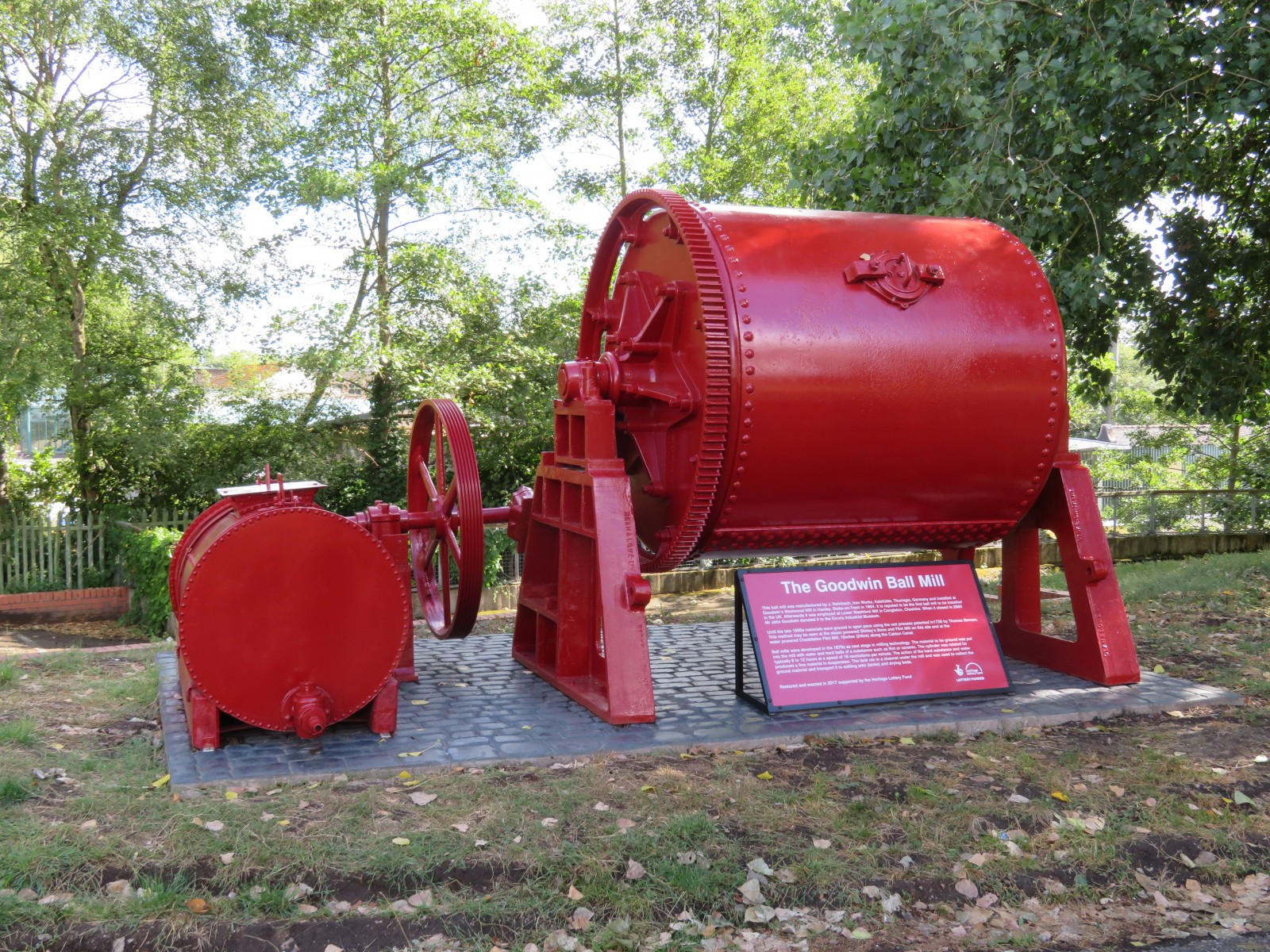 GOODWIN 1904 BALL MILL RESTORED AND ERECTED BY THE CALDON CANAL