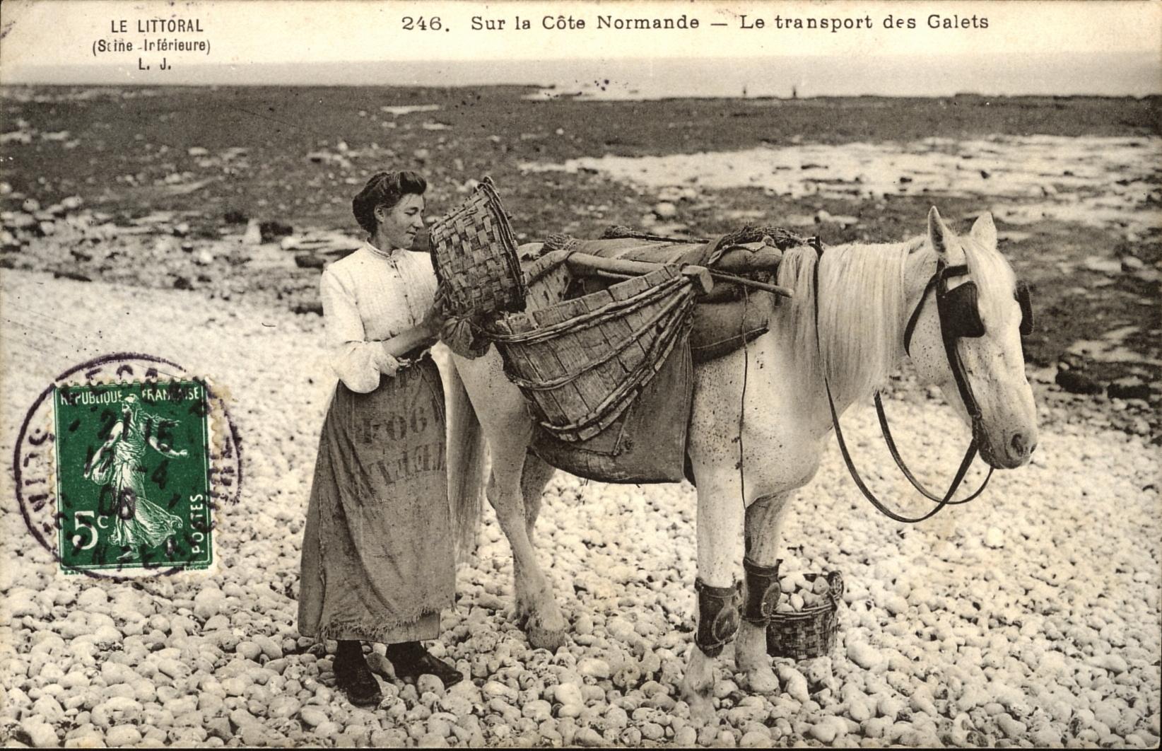 Sur la cote Normande - Le transport des galets (the transport of pebbles) early 1900s